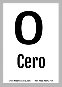 Spanish Flash Card Cero