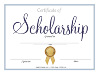 Blue Scholarship Certificate