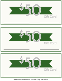50 Dollar Monetary Gift Card