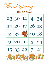 Thanksgiving Bingo Game 2