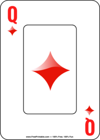 photograph regarding Printable Playing Card known as Queen of Diamonds Taking part in Card