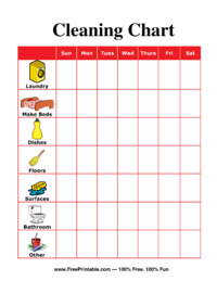 Cleaning Chore Chart for Adults
