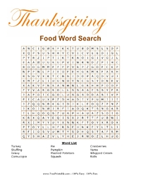 Thanksgiving Food Word Search