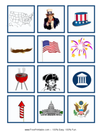Fourth of July Bingo Tiles