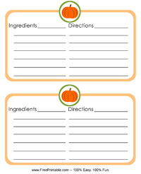 Pumpkin Recipe Card