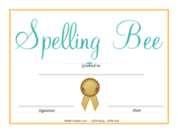 Colorful Spelling Bee Certificate
