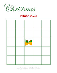 Christmas Bingo Card Blank