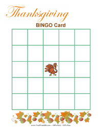 Blank Thanksgiving Bingo Game