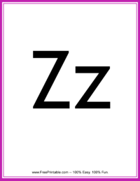 Flash Card Letter Z