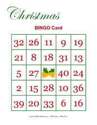 Christmas Bingo Card Two