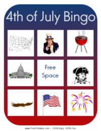 Fourth of July Bingo Card 1