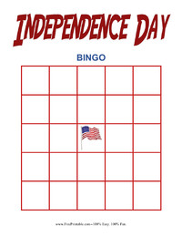 Independence Day Bingo Blank