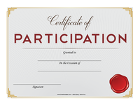 Participation Certificate with Red Seal