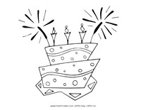 Sparkler Cake Coloring Page