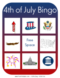 Fourth of July Bingo Card 3