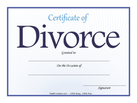 Blue Divorce Certificate