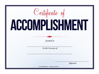 Accomplishment Certificate