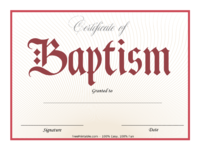 Red Baptism Certificate