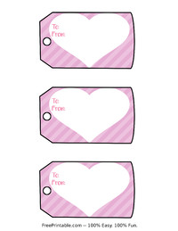 Valentine Heart Stripes Gift Tags