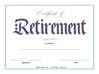 Blue Retirement Certificate