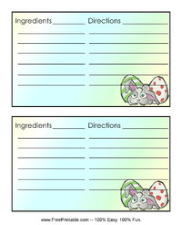 Easter Bunny Recipe Card