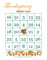 Thanksgiving Bingo Game 4