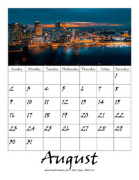 August 2020 Picture Calendar