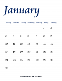 January 2016 Portrait Calendar
