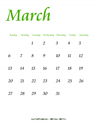 March 2016 Portrait Calendar