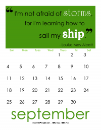September 2016 Quotation Calendar