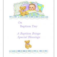 Baby With Bear Baptismal Baby Card