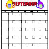 Backpacks For September Blank Calendar