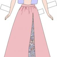 Paper Doll Pink Skirt and Blue Top