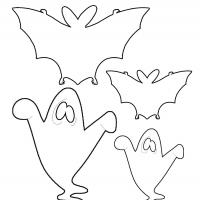 image about Ghost Template Printable called Bats and Ghosts Template