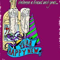Bottle and Hat New Year Party Invitation