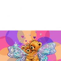 Colorful Card With Fairy Bears
