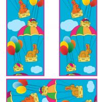 Easter Bunny and Easter Eggs on Hot Air Balloon Bookmarks