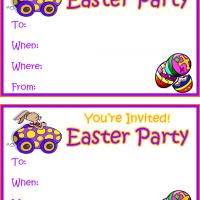 Egg Car Easter Party Invitation Cards