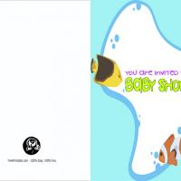 Fish and Bubbles Blank Baby Shower Invitation