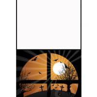 Halloween Window Graveyard Greeting Cards