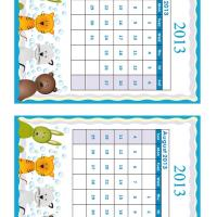 July - August Cartoon Animals 2013 Calendars