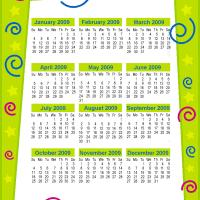 Lime Green 2009 Calendar Page