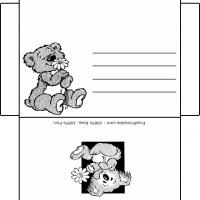 Lying Bear With Flowers Envelope