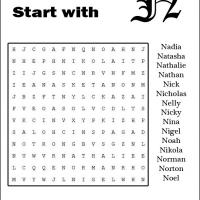 Names Starting With N Word Search
