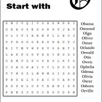 Names Starting With O Word Search