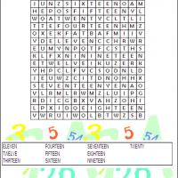 Numbers 11 To 20 Word Search