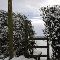 Snow Topped Stile And Footpath