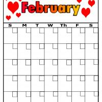 Twin Hearts For February Blank Calendar