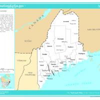 US Map- Maine Counties with Selected Cities and Towns