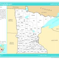 US Map- Minnesota Counties with Selected Cities and Towns